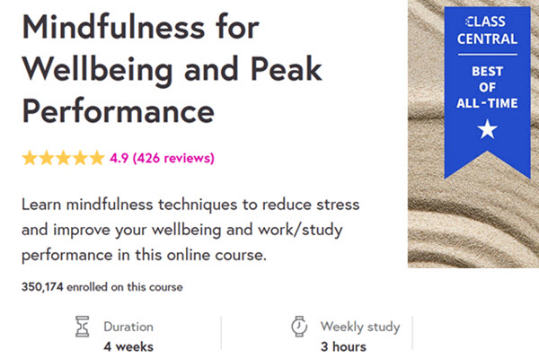 Mindfulness for wellbeing and peak performance