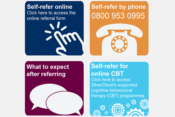 Self refer online. Self refer by phone 0800 953 0995. What to expect after referring. Self refer for online cbt.
